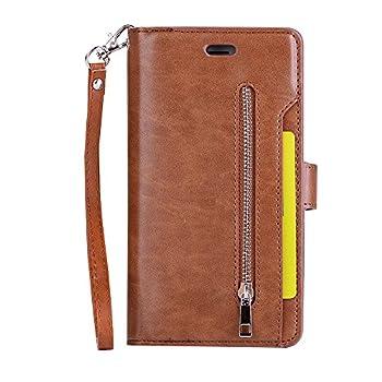 iPhone 8 Plus Case iPhone 7 Plus Case Folice Zipper Wallet Case [Magnetic Closure]& 9 Card Slots PU Leather Kickstand Wallet Cover Durable Flip Case for Apple iPhone 8&7 Plus  Brown