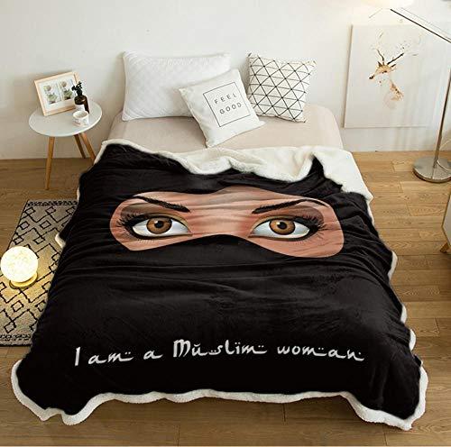 QAQV Mujer Ojos enmascarados Manta de Cama árabe Negra Mantas de Colcha Manta de Franela Manta de vellón Transpirable 1.5M * 2M