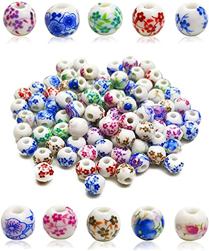 Melodip 50pcs/Box 10 Styles Traditional Chinese Handmade Ceramic Porcelain Flower Beads 12mm Exquisite Decal Spacer Round Beads