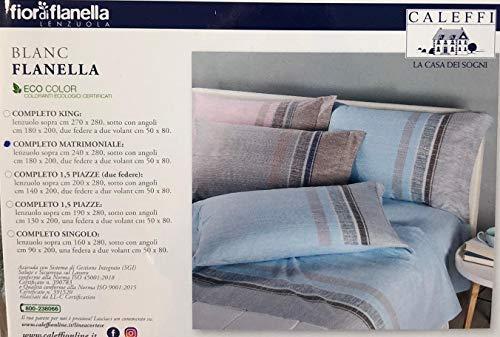 Caleffi Blanc Flanella Completo Lenzuola, Azzurro, Matrimoniale