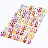 Homewit 100 Stück Stoffklammern aus Kunststoff, 100 Stück Nähklammern 27 x 10 x 15 mm, Mehrfarbig Nähen Zubehöre, Stoff Clips, Wonder Clips, Nähklammern für Nähen (100 Farbmischung)