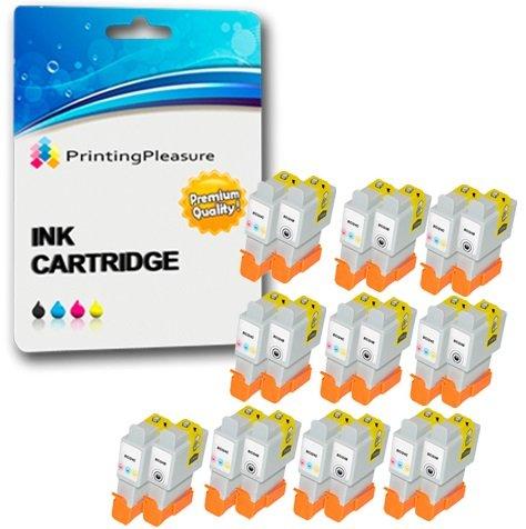 20 Compatibles BCI-24 BCI-21 Cartuchos de Tinta para Canon iP1000 iP1500 iP2000 MP110 MP130 MP200 MP360 i250 i320 i350 S200X BJC-2000 BJC-2010 BJC-2100 BJC-4650 - Negro/Color, Alta Capacidad