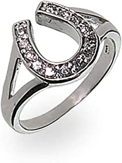 Sterling Silver Cubic Zirconia Horseshoe Ring, Sizes 4 to 9