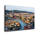 Desconocido Cuadro Lienzo Canvas Vista Panoramica de Bilbao Ria Vizcaya – Varias Medidas - Lienzo de Tela Bastidor Madera de 3 cm - Impresion Alta resolucion (50, 33)