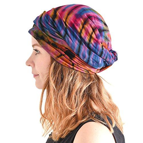 CHARM Casualbox Tie Dye Stirnband Hippie Mode Elastisch Kopf Wickeln Abdeckung 60\'S 70\'S Retro Bandana Psychedelisch Blume Muster B