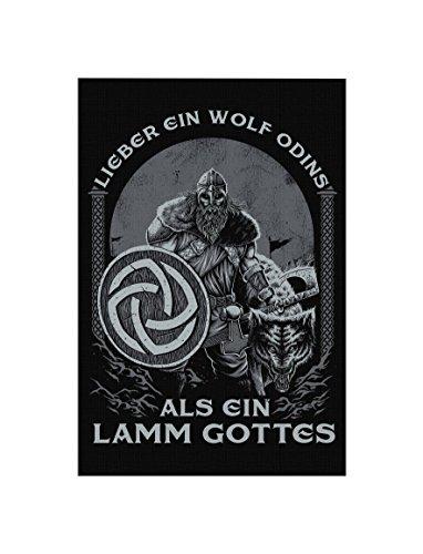 Uglyshirt89 Lieber EIN Wolf Odins als EIN Lamm Gottes Premium Leinwand | Keilrahmen Bild Gemälde Wandbild (60 x 40 cm)