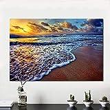 N / A Peinture sans Cadre décoration pour Salon Toile Art Coucher de Soleil Plage Sable océan côte mer Paysage Peinture ZGQ7189 20x30 cm
