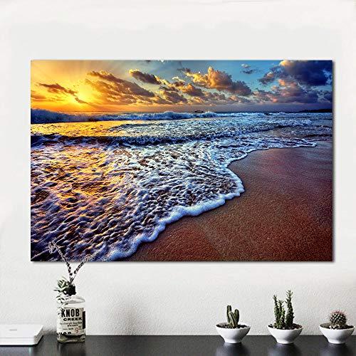 N / A Rahmenlose Malerei Wohnkultur für Wohnzimmer Leinwand Kunst Sonnenuntergang Strand Sand Ozean Küste Meer Landschaft MalereiZGQ7191 40x60cm