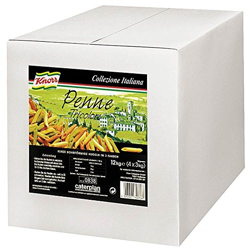 Knorr Penne Tricolore bunte Röhrennudeln 12 kg, 1er Pack (1 x 12 kg)