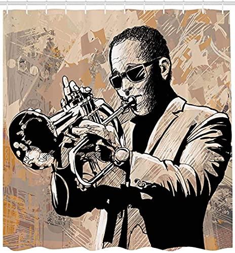 Cortina de ducha impermeable, diseño de música de jazz, ilustración de músico con gafas de sol tocando trompeta, decoración de baño de tela con ganchos
