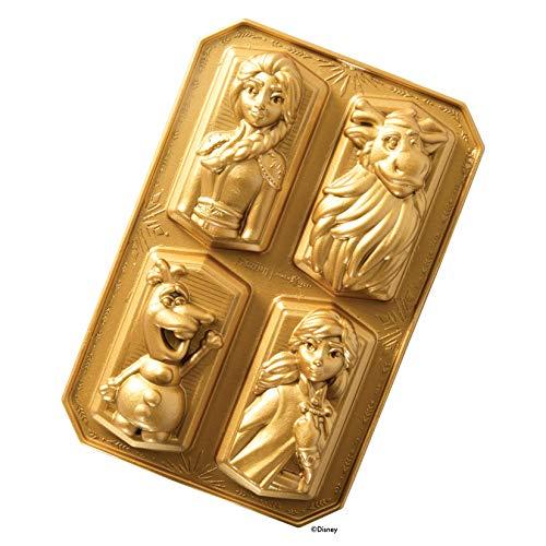 Nordic Ware Backform, Kuchenform, Disney Frozen, gold, 4 verschiedene Charaktere, Aluminium, Antihaft, NW 94378