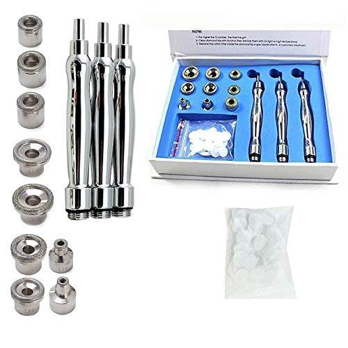 Lot de 9 embouts + 3 baguettes de microdermabrasion diamant - Filtres en coton pour peeling de la peau, microdermabrasion et rajeunissement de la peau