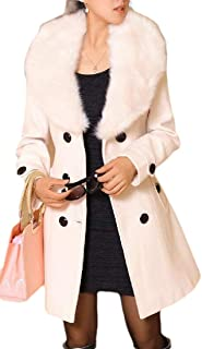 Macondoo Womens Thickened Outwear Double-Breasted Wool Blend Faux Fur Collar Pea Coat