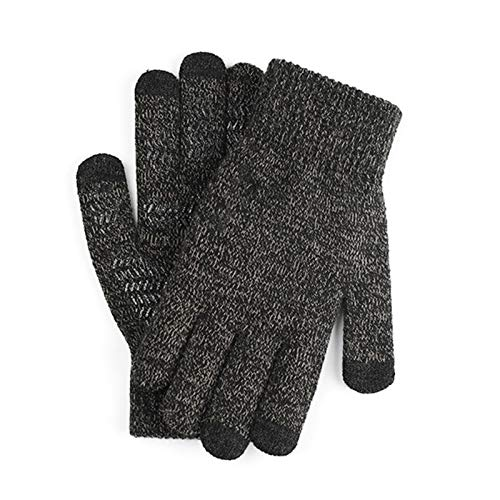 Valensha Men/Women Winter Knitted Fabric GlovesAnti-Slip Knit Touch Screen Soft Warm Thermal Gloves 1 Pair Grey Black