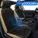Cooling Car Seat Cushion, 12V Beaded Seat Covers Comfort Wooden Beads Cool Seat Cushions Universal Fit Full Size Auto Seat Cushion Ventilate Breathable Air Flow for Vehicle Driver Seat