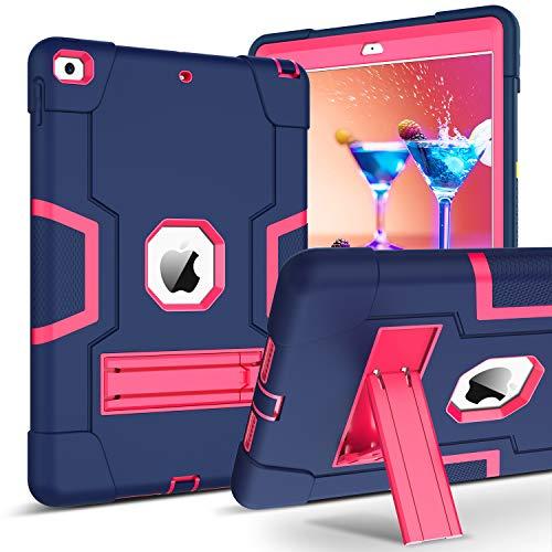 BENTOBEN iPad 10.2 2019 Hülle, iPad 7 Generation Hülle mit Faltbarer Kickstand Hybrid PC Schale und Silikon Cover stoßfeste Schutzhülle für iPad 10.2 2019 A2197 A2198 A2200 Blau Rosa
