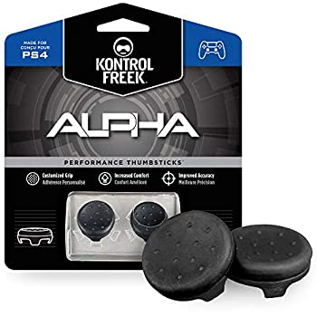 KontrolFreek Alpha Performance Thumbsticks for PlayStation 4  PS4  and PlayStation 5  PS5  Controller | 2 Low-Rise Concave | Black