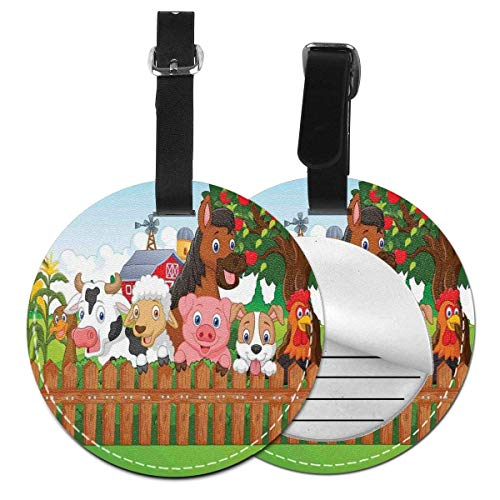 Top-T Composition Cute Farm Animals On Fence Comic Mascots with Dog Cow Horse Kids Design,Leather Baggage Tag