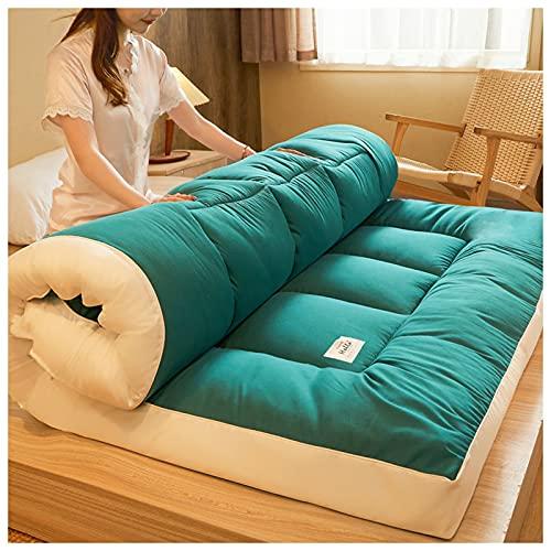 Futon Furniture Traditional Japanese Cotton Fiber Colchón Plegable Colchón de Suelo, Colchón portátil Yoga Meditación Tatami, para Invitados Camping Viaje,Verde,120x200cm