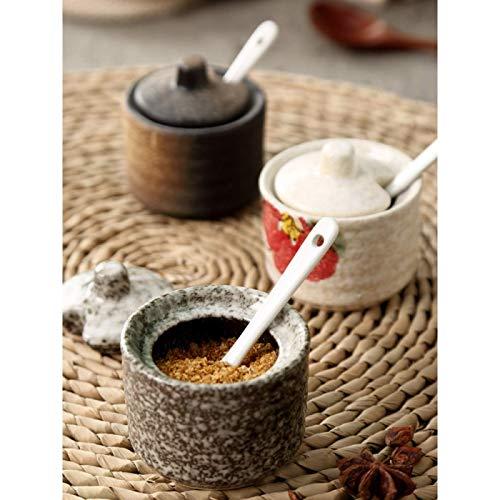 Frasco de condimentos de estilo japonés, botella de condimentos, juego de caja de condimentos de cerámica, utensilios de cocina creativos, frasco pequeño de aceite y sal, botella de condimentos