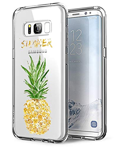 Coque Samsung Galaxy S8 Plus, Housse Protection Mignon Premium TPU Silicone Bumper Etui [Liquid Crystal] Ultra Mince Transparent/Exact Fit/Souple pour Samsung Galaxy S8+ Plus (Ananas)