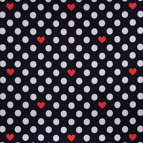 Tela softshell con lunares y corazones marina – Fresas de Julie – Precio por 0,5 metros