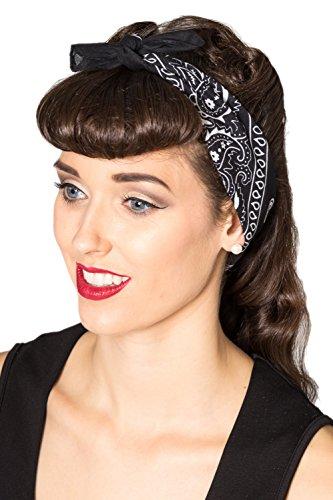 Banned Lysia Vintage Retro Bandana Hairband - 4 Colours - White / One Siz