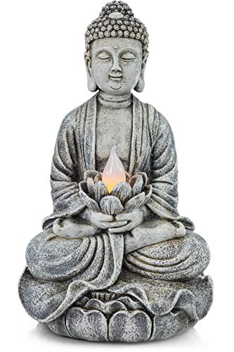 VP Home Zen Buddha Solar Powered Flickering LED Outdoor Decor Garden Light