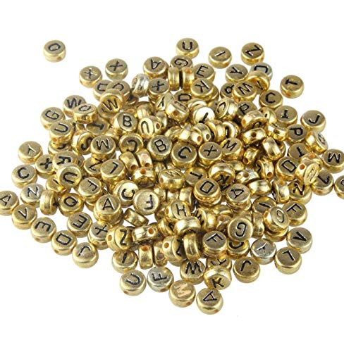 DNHCLL 200 cuentas redondas de acrílico dorado para joyas, llaveros, pulseras y collares (4 x 7 mm)