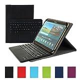 Besmall Bluetooth Tastatur mit Touchpad Deutsch Layout QWERTZ mit PU Leder Schutz Hülle mit Standfunktion für 10 Zoll Tablet (9,6/ 9,7/ 10,1 Bildschirm) Schwarz