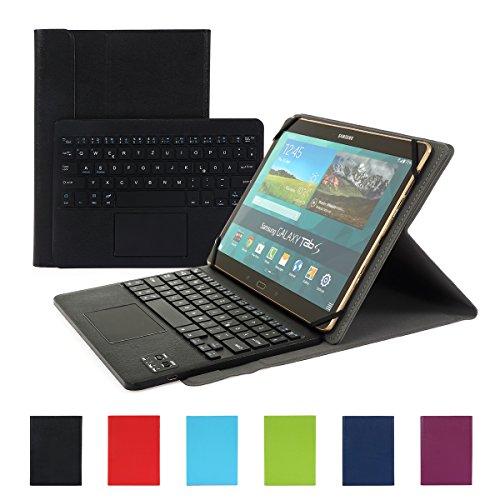Besmall Bluetooth Tastatur mit Touchpad Deutsch Layout QWERTZ mit PU Leder Schutz Hülle mit Standfunktion für 10 Zoll Tablet (9,6/ 9,7/ 10,1 Display) Schwarz