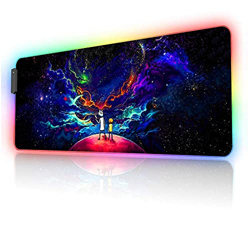 Anime Mouse Pad RGB Night Sky Space Stars,12 Light Modes-Non-Slip Rubber Base Mousepad-Textured cloth design-Long Glowing Laptop Desk Pad,Computer Keyboard and Mice Combo Pads Mouse Mat-31.5x11.8 inch
