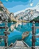 WJGJ Kits de Pintura por números, Pintura al óleo de Bricolaje para Adultos, niños, Principiantes, Barco Junto al Lago (sin Marcos)