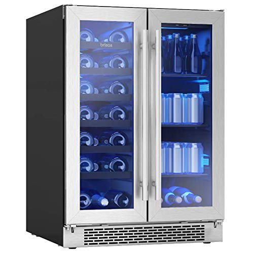 Zephyr BWB24C32AG Brisas Series 24 Inch dual-zone Stainless Steel Freestanding or Built-In Beverage Wine Center with French Door Wine for 21 bottles (750 ml) Beverage for 64 12oz cans