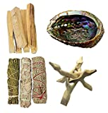CircuitOffice Smudge Kit, Six 4' Palo Santo Sticks , 6' Abolone Shell with Wooden Tripod Stand and White Sage, Blue Sage and Cedar, for Purifying, Cleansing, Healing, Metaphysical and Meditation