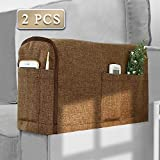 Joywell Armrest Covers Anti-Slip Sofa Arm Protector for Living Room, Armchair Slipcover for Armrest Recliner with 4 Pockets for Tv Remote, Phone, Set of 2, Chocolate