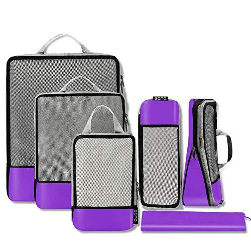 Eono by Amazon - Organizadores de Viaje de compresión expandibles, Impermeable Organizador para Maletas, Organizador de Equipaje, Cubos de Embalaje, Compression Packing Cubes, Púrpura, 6 Set