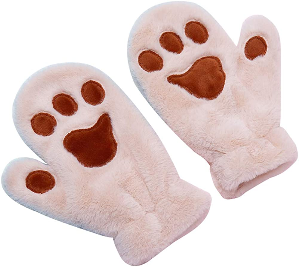 Cute Cat Paw Gloves Warm Winter Gloves Soft Thick Faux Fur Mittens for Women Girls