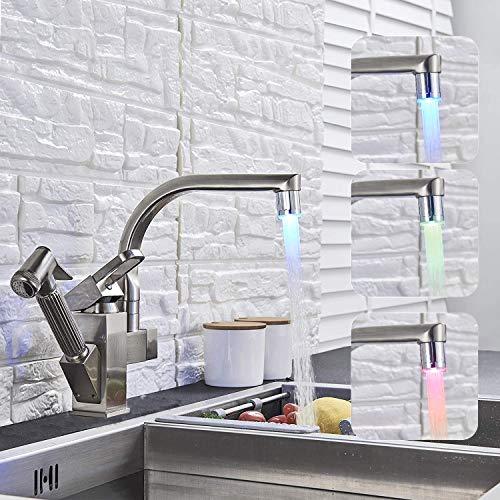 Saeuwtowy 304 Acero Inoxidable Cepillado LED Grifo Extensible Para Cocina en Dos Salidas Del Agua 360 ° Grifo Giratorio Del Fregadero Del Fregadero Del Grifo Extraíble De La Cocina Del Espray