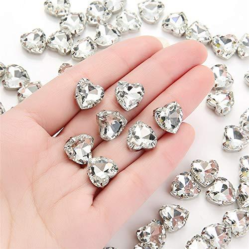 Choupee - Juego de 50 diamantes de imitación para coser en forma de corazón de 12 mm, Crystal Clear, 12 MM, 1