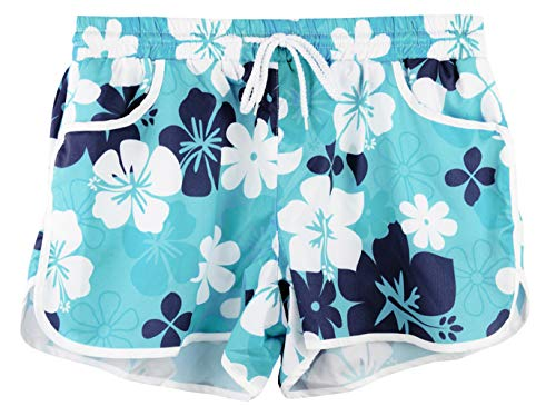 Womens Summer Causal Sports Beach Shorts Drawstring Elastic Waistband Printed Boardshort Navy Floral XL