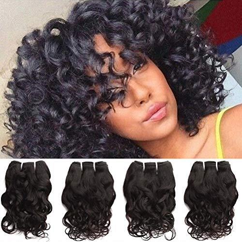 Brazilian Curly Human Hair Weave 4 Bundles Of 10A Grade Brazilian Virgin Hair Wet And Wavy 100% Raw Unprocessed Remy Hair Loose Italian Curl Natural Black Color 12 Inch 50g/pc