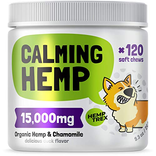 Calming Hemp Treats For Dogs - Made in USA with Organic Hemp - Dog Anxiety Relief - Natural Separation Aid - Helps with Barking, Chewing, Thunder, Fireworks, Aggressive behavior - 120 Soft Chews
