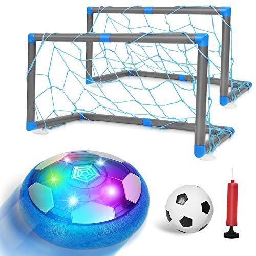 Auney Air Power Fußball Set mit Fußballtor Kinderspielzeug Fußball Geschenk Junge Mädchen Wiederaufladbar Hover Soccer Ball Spielzeug Sport Spiele für Kinder Jungen und Mädchen
