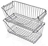Smart Design Stacking Basket Bin Pantry Freezer Storage Organizer - Medium (12.63 x 5.5 Inch) - Steel Metal Wire - Fruit, Vegetable, Onion, Potato, Cans - Kitchen [Chrome] - Set of 2
