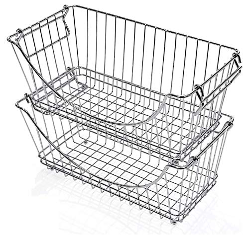Smart Design Stacking Baskets Organizer w/ Handle - Medium - Steel - for Food, Fruit, & Vegetable Safe - Kitchen (12.63 x 5.5 Inch) [Chrome] (2 Pack)