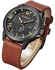 アナログ 腕時計 日付 メンズ 3タイムズ 時計 防水 大文字盤 ビジネス ビッグフェイス レザーベルト Curren watch