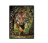 XZDPPTBLN Mantas de Franela Súper Suave de Lana Tigre Animal del Bosque de bambú Verde Mantas con Estampados Esponjosa y Cálida Mantas para la Cama y el Sofá 130cm x 150cm