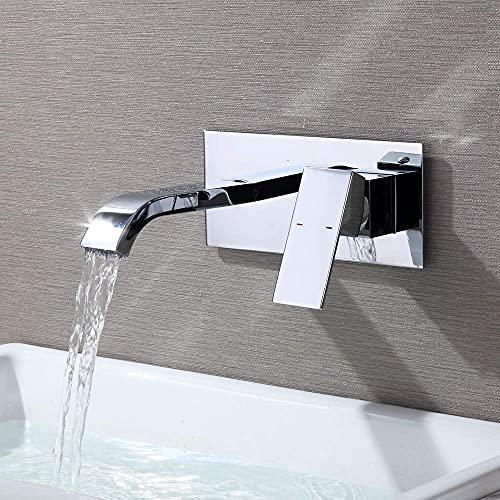 CREA Waschtischarmatur Wandarmatur Bad für Aufsatzwaschbecken Einhebel-Waschtischmischer Armatur Wasserfall Wandmontage Unterputz Armatur Wasserhahn, Messing verchromt
