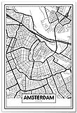 Panorama Poster Karte von Amsterdam 21 x 30 cm - Gedruckt